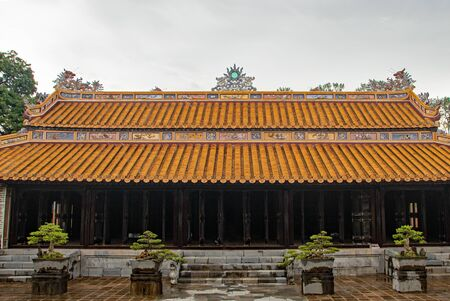Decorations on the roof of building of The Tomb of Tu Duc, at Hue city, Vietnam