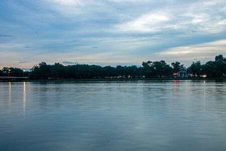 Landscape of Huong River or Perfume River crossing Hue City at sunset, Vietnam