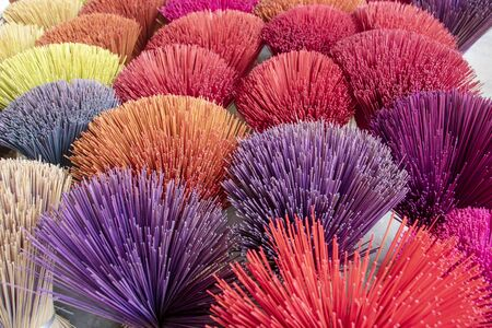multicolored incense sticks handcrafted at Hue city , Vietnam