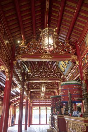 Hung To Mieu (Templo de la Resurrección) dentro de la ciudadela de la Ciudad Imperial de Hue, Vietnam. Editorial