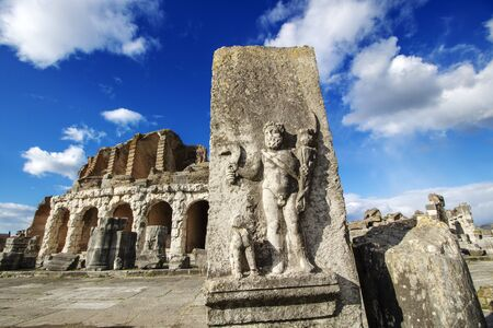 Roman amphiteathre in the city of Capua, second only to the Colosseum in size, it  the location of the first and most famous gladiator school and  the outbreak of the revolt of Spartacus in 73 BC, Santa Maria Capua Vetere,  Caserta province, Italy