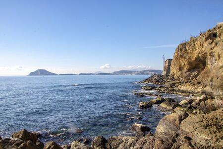Landscape of Pozzuoli sea and coast in Naples province, Italy