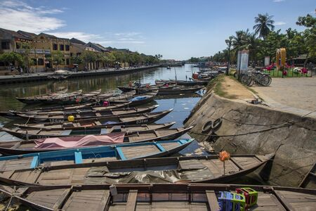 At Hoi An - Vietnam - On august 2019 - View of the old town on the river Thu Bon