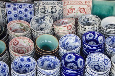 handicraft pottery in a market at hoi an, vietnam