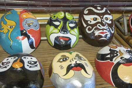hand painted  Cultural Masks  made after the theatrical characters of the Vietnamese performance art,    Each mask expresses an emotion of one character. 版權商用圖片