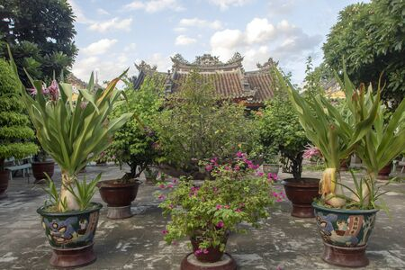 Back garden of Fukian Assembly Hall or Phuc Kien in the Hoi An ancient town in Quang Nam Province of Vietnam