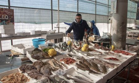 At Pozzuoli, Italy, on january 2020 - fish stalls in covered  fish market 新聞圖片