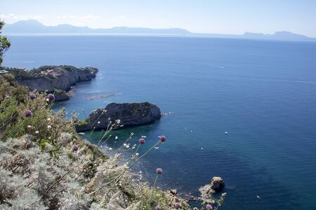 Landscape of  coastline and gulf of Naples as seen from Virgliano park at Posillipo