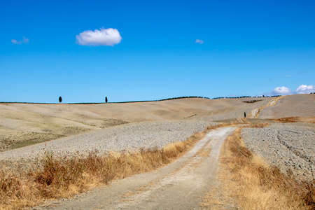 At San Quirico d'Orcia - Italy - On august 2020 - landscape of Val d'Orcia in summer, Tuscany