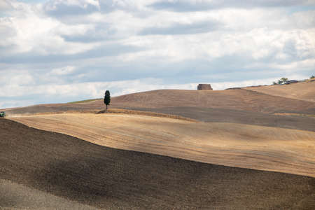At Asciano - Italy - On august 2020 - Landscape of Tuscan countryside in Val d'Orcia