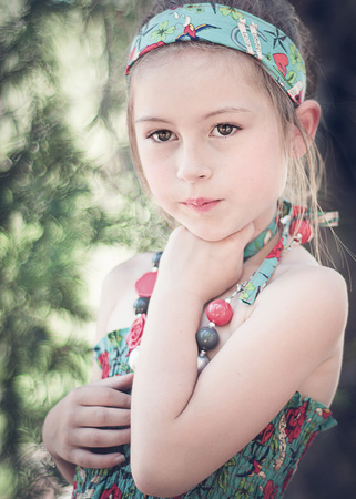 Elementary Age Girl Portrait in a Forest Banco de Imagens