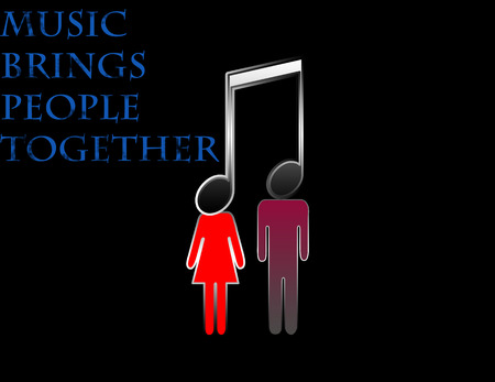 brings: Backgrould whit text music brings people together vector ilustration