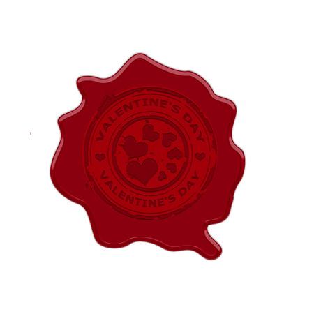 Wax stamp whit text valentine Vector