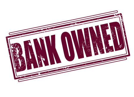 bank owned grunge stamp on whit vector illustration Illustration