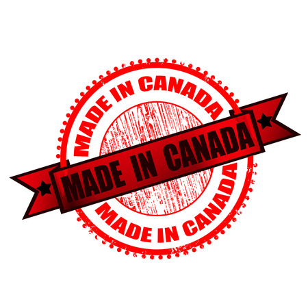 canada stamp: made in canada grunge stamp on whit vector illustration Illustration
