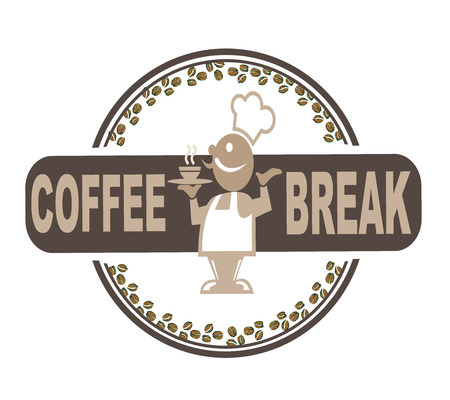 coffee break grunge stamp on whit vector illustration Vector