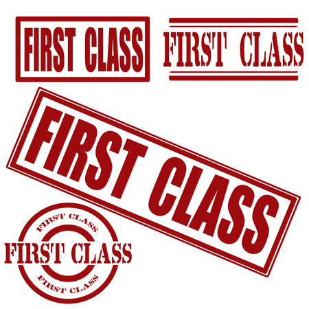 first class: set first class grunge stamp whit on , vector illustration