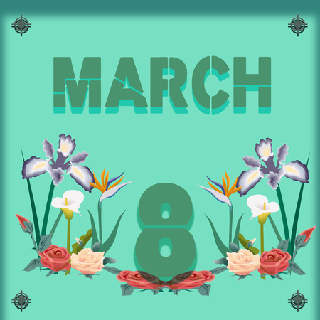 background whit text march vector illustration