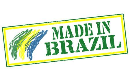 made in brazil grunge stamp whit on vector illustration Vector