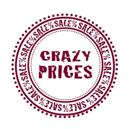 Grunge gumibélyegző a szöveget őrült árak, vektoros illusztráció Illusztráció
