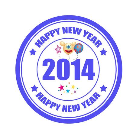 Label pünkösd szöveget Happy New Year 2014, vector ilustration