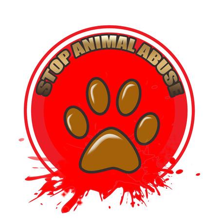 animal abuse: animal abuse grunge stamp on whit vector illustration