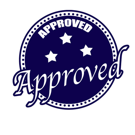 acceptation: approved label stamp on whit vector illustration