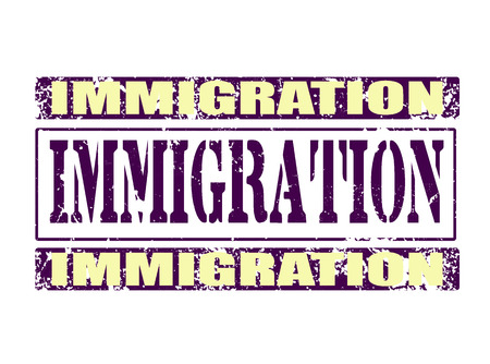 emigranti: grunge immigrazione tsamp su briciolo illustrazione vettoriale