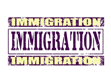 exile: immigration grunge tsamp on whit vector illustration Illustration
