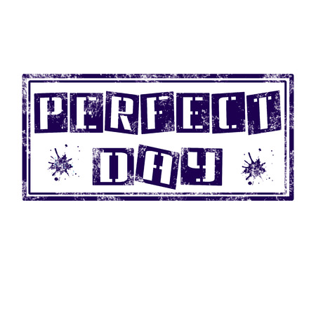 stamp whit text perfect day vector illustration