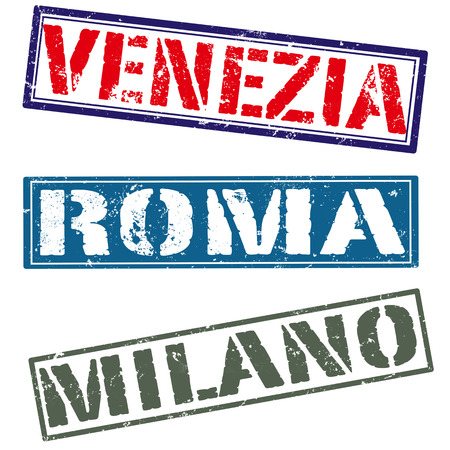 venezia: venezia roma milano grunge on whit , vector illustration