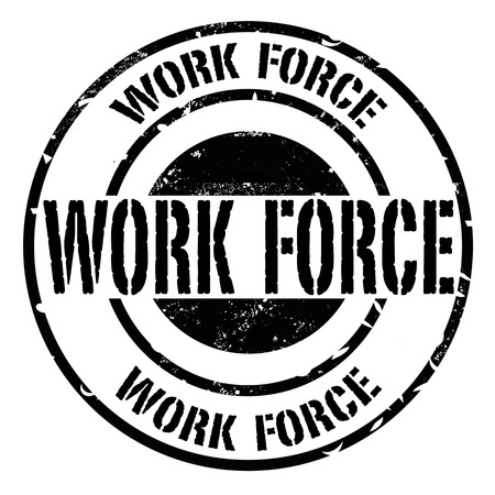 work force: work force grunge stamp on whit vector illustration