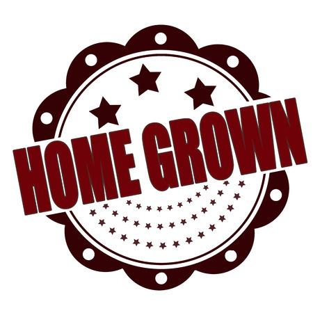 home grown grunge stamp whit on vector illustration