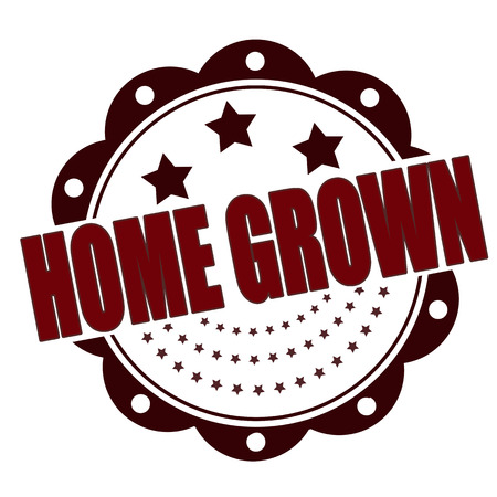 home grown: home grown grunge stamp whit on vector illustration