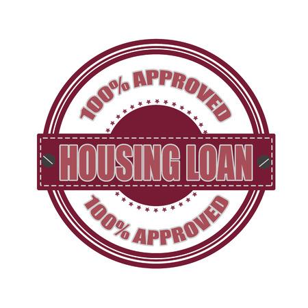 per cent: housing loan grunge stamp whit on vector illustration