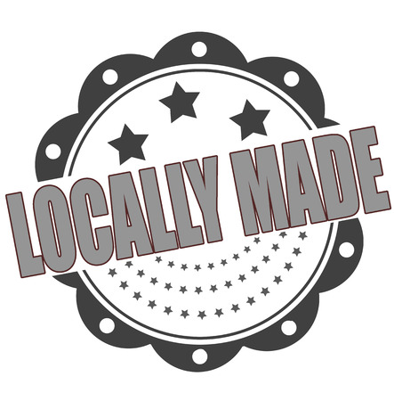 locally: locally made grunge stamp whit on vector illustration