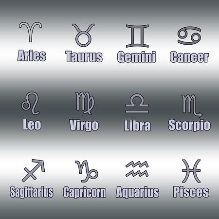 zodiac symbol background whit on vector illustration Illustration