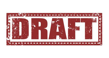 draft label stamp whit on vector illustration