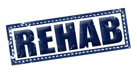 rehab: rehab grunge stamp whit on vector illustration Illustration