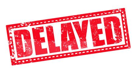 delayed: delayed label stamp whit on vector illustration