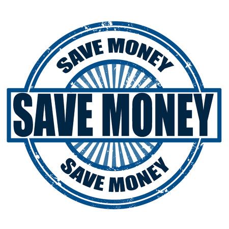 save money grunge stamp whit on vector illustration Vector