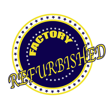 replacing: factory refurbisher grunge stamp whit on vector illustration Illustration