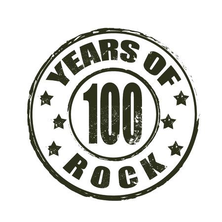 100 years of rock grunge stamp whit on vector illustration Illustration