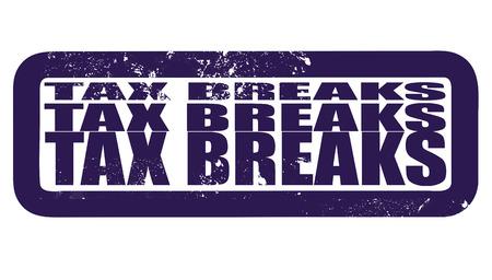 breaks: exenciones fiscales grunge whit sello en ilustraci�n vectorial