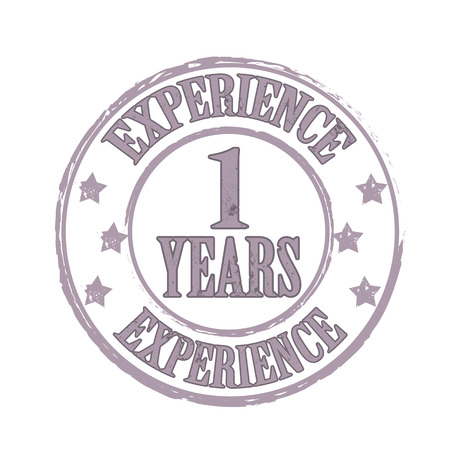 whit: experience 1 years  grunge stamp whit on vector illustration