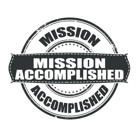 accomplishments: mission accomplished grunge stamp whit on vector illustration