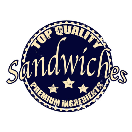 top quality sandwiches grunge stamp whit on vector illustration Vector