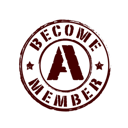 become: become a member grunge stamp whit on vector illustration Illustration