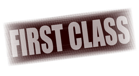 first class: first class grunge stamp whit on vector illustration