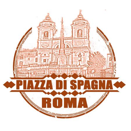 Piazza di Spagna grunge bélyegző a vektoros illusztráció